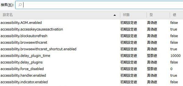 Firefox「警告:応答のないスクリプト」コンフィグ画面