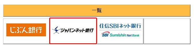 ジャパンネット銀行を選択
