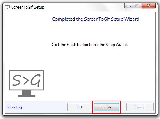 「ScreenToGif」のインストールが完了しました