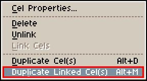 「Duplicate Linked Cel(s)」をクリック