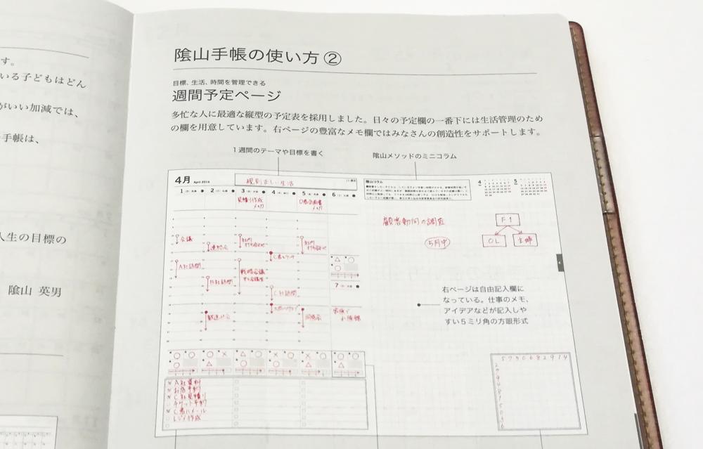 「陰山手帳2019」使い方ページ