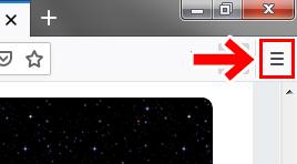 Firefoxのメニューをクリック