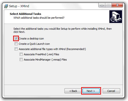 XMind 8 インストール方法 チェックを入れてNextをクリック
