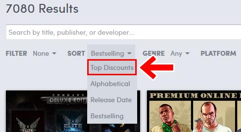 Humbleストア 無料配布ゲームの探し方 「Top Discounts」をクリック
