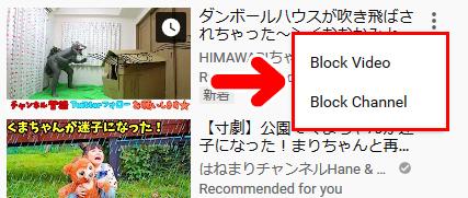 「Block Video」「Block Channel」が表示