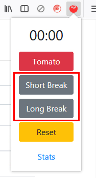Short Break」が5分間の休憩、「Long Break」が15分間の休憩
