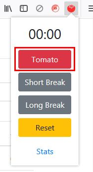 「Tomato」を押すと、25分のタイマーがスタート