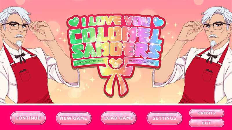 KFC公式の乙女ゲーム「I Love You, Colonel Sanders! A Finger Lickin' Good Dating Simulator」 タイトル画面