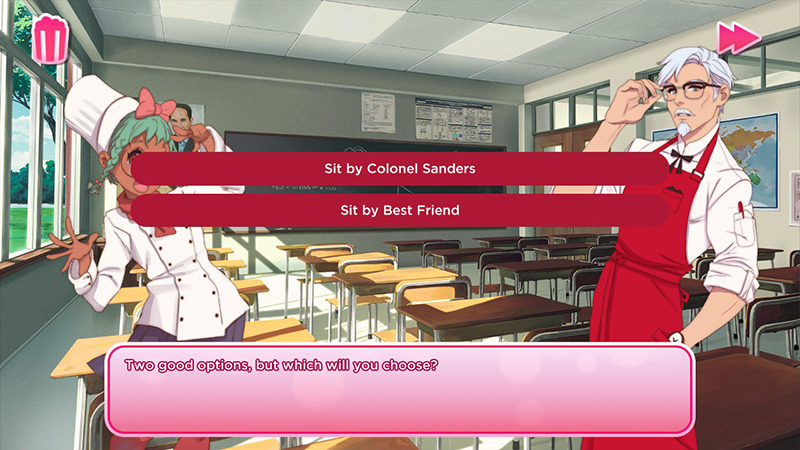 KFC公式の乙女ゲーム「I Love You, Colonel Sanders! A Finger Lickin' Good Dating Simulator」プレイ画面2