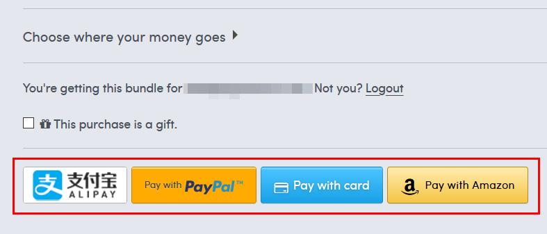 「ALIPAY」「Paypal」「クレジットカード」「Amazon Pay」から支払い方法を選択
