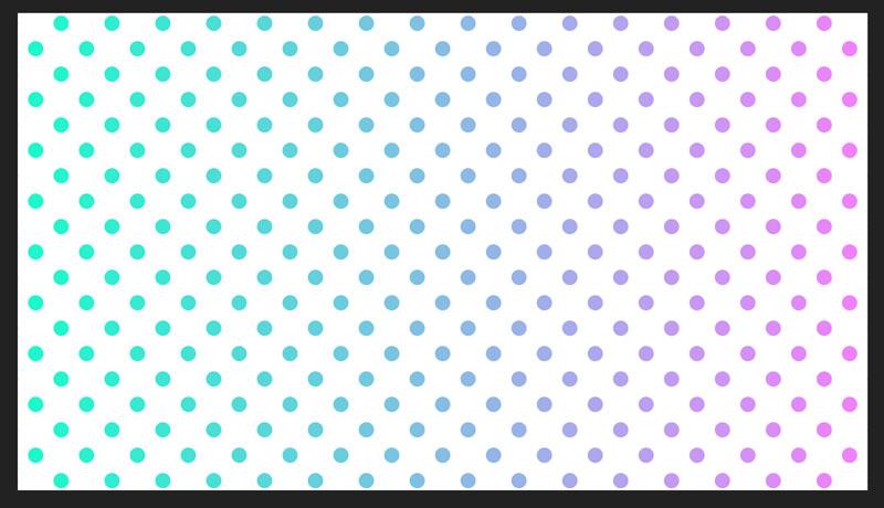 水玉模様の色がグラデーションに