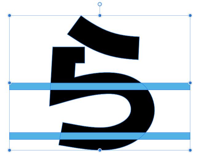 2つの長方形とフォントが選択された状態