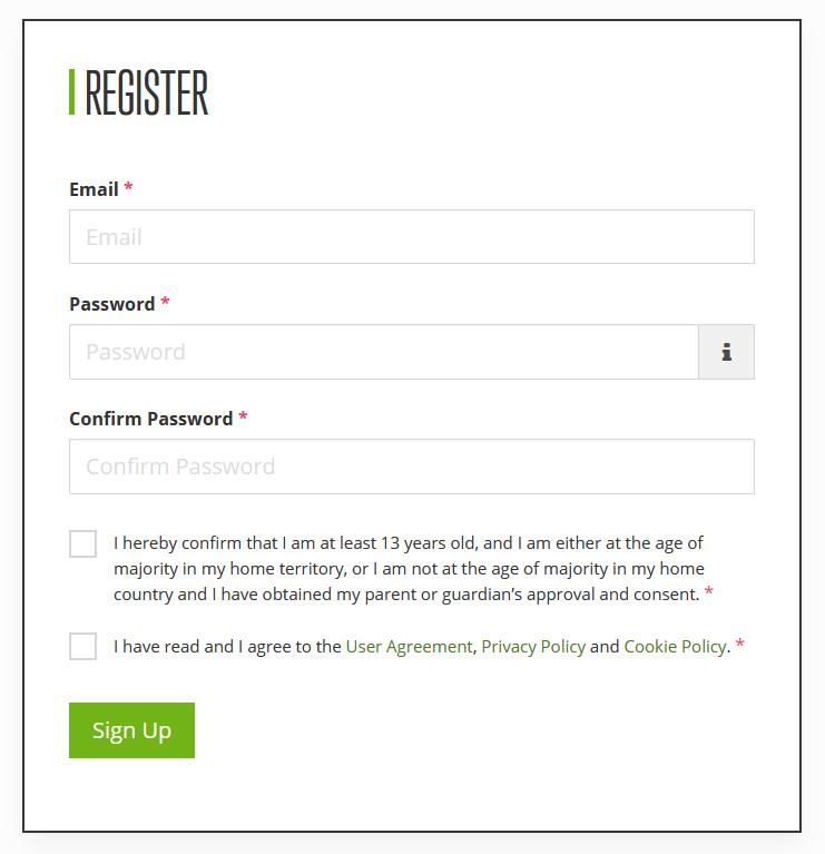 アカウントの登録