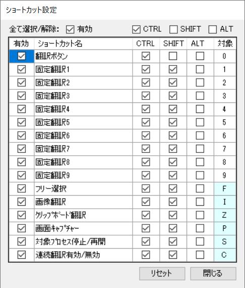 「ショートカット設定」カスタマイズ